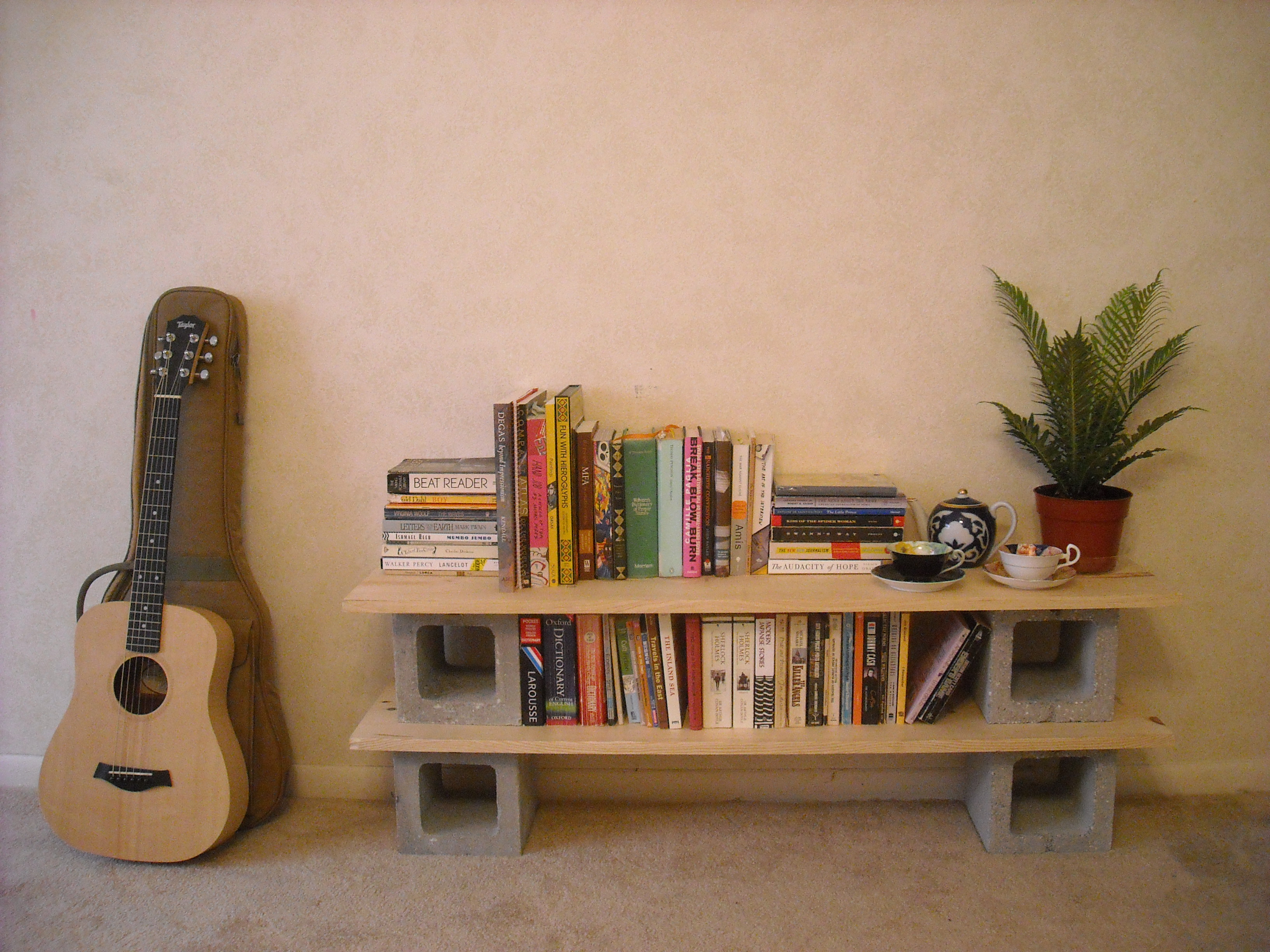 Cinder blocks bookshelves and cinder block shelves on - Estanterias para cds ...